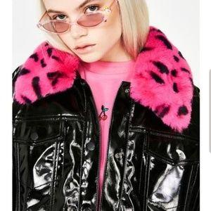 Black Vinyl Leopard Collar Jacket